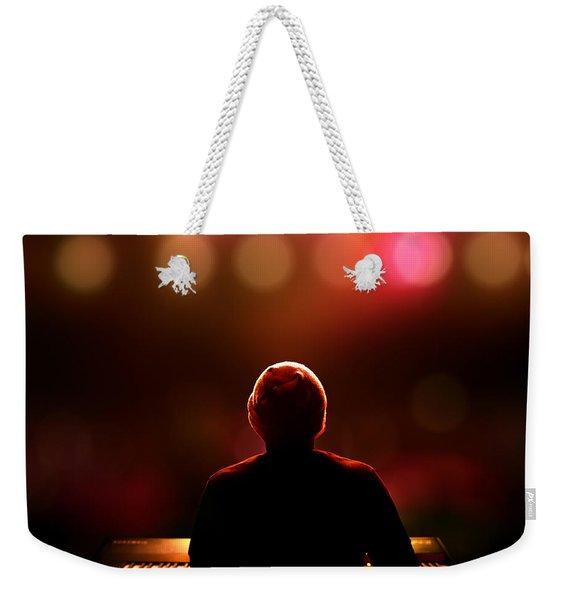 Pianist On Stage From Behind Weekender Tote Bag