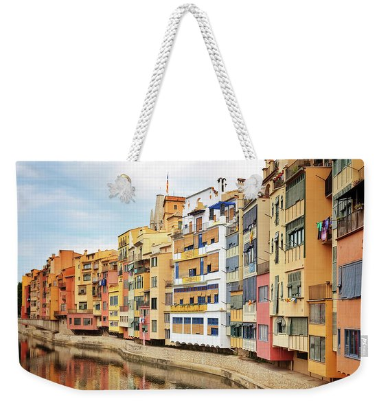 Picturesque Buildings Along The River In Girona, Catalonia Weekender Tote Bag