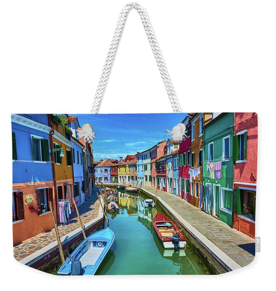 Picturesque Buildings And Boats In Burano Weekender Tote Bag