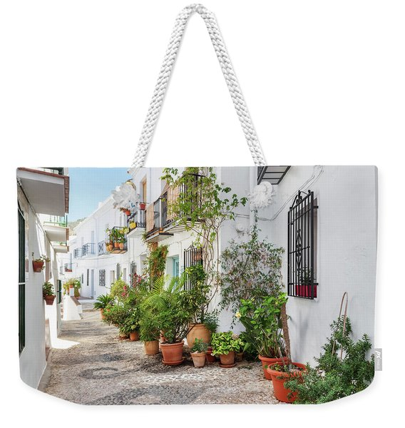 Picturesque Narrow Street Decorated With Plants Weekender Tote Bag
