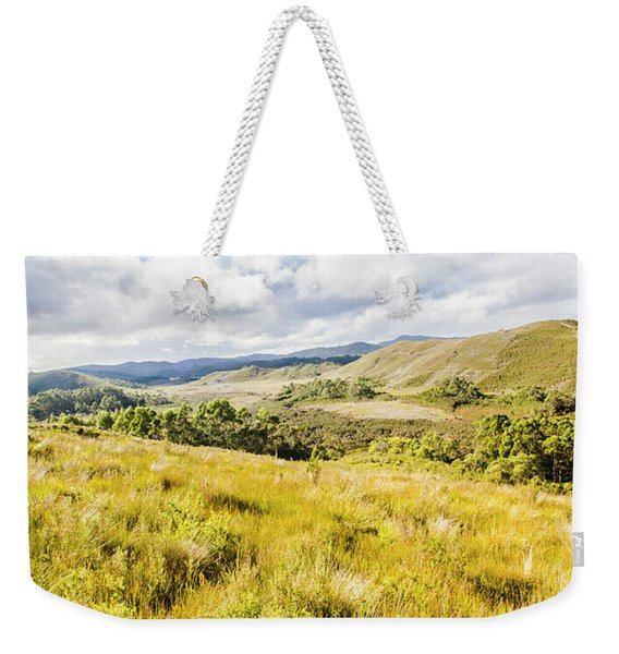 Picturesque Tasmanian Field Landscape Weekender Tote Bag