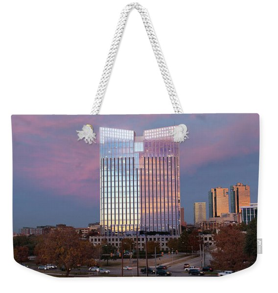 Pier 1 Building And The Trinity River, Downtown Ft. Worth Texas U S A Weekender Tote Bag