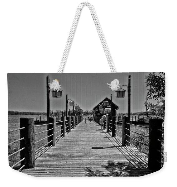 Pier At Fort Wilderness In Black And White Walt Disney World Mp Weekender Tote Bag