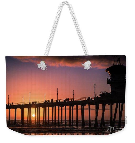 Pier At Sunset Weekender Tote Bag