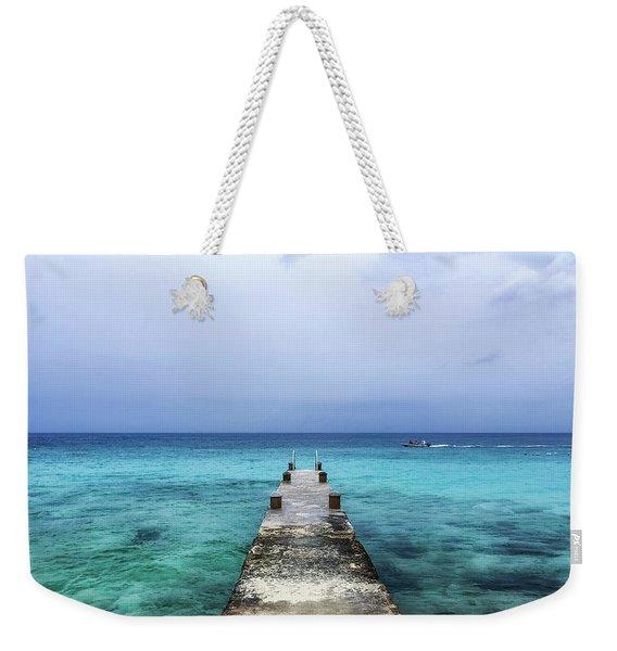Pier On Caribbean Sea With Boat Weekender Tote Bag