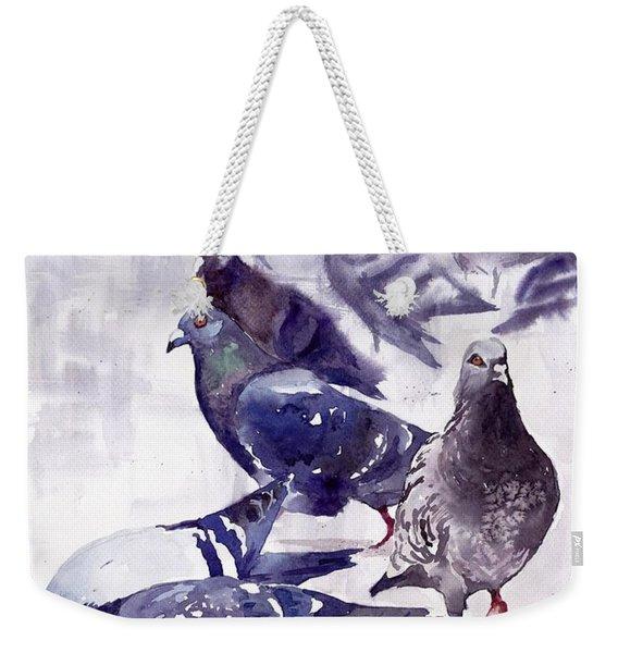 Pigeons Watercolor Weekender Tote Bag