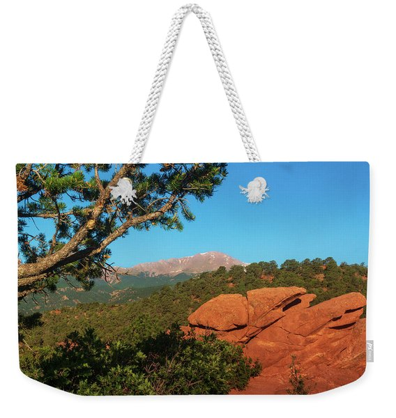 Weekender Tote Bag featuring the photograph Pikes Peak by John De Bord