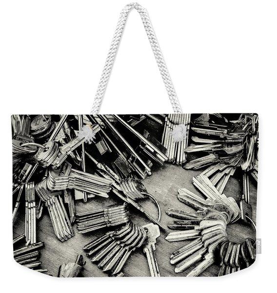 Piles Of Blank Keys In Monochrome Weekender Tote Bag