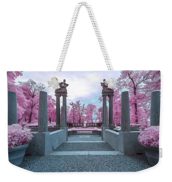 Weekender Tote Bag featuring the photograph Pillars With Pink by Brian Hale