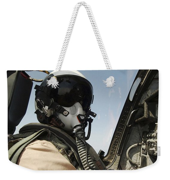 Pilot Performs A Flight Mission In An Weekender Tote Bag