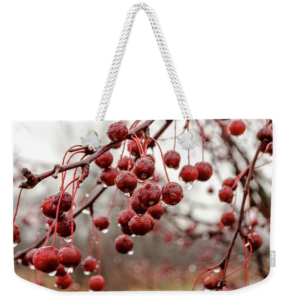 Pin Cherries And Raindrops Weekender Tote Bag