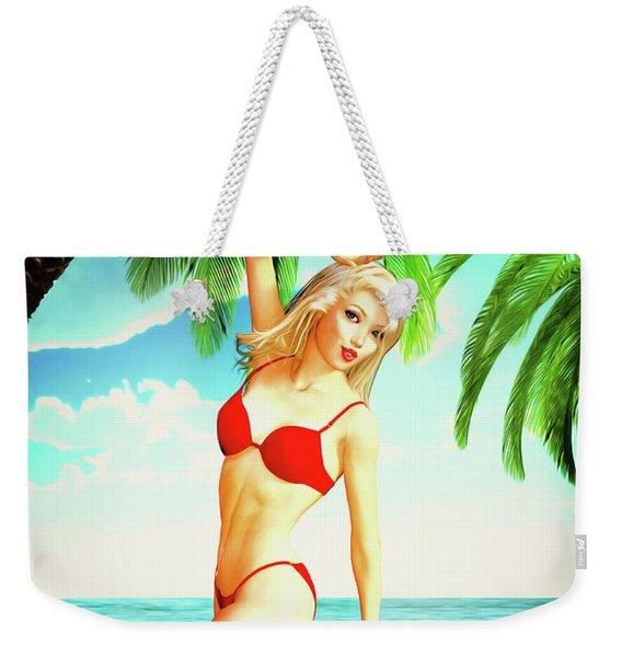 Pin-up Beach Blonde In Red Bikini Weekender Tote Bag