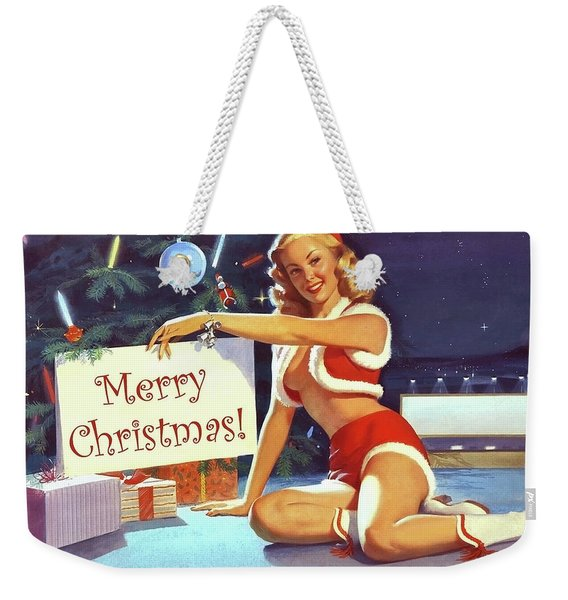Pin Up Blond Wish You A Merry Christmas Weekender Tote Bag