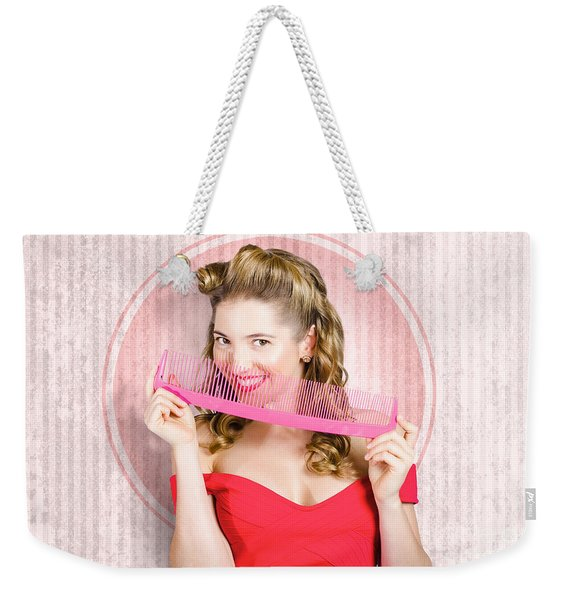 Pin Up Hairdresser Woman With Hair Salon Brush Weekender Tote Bag
