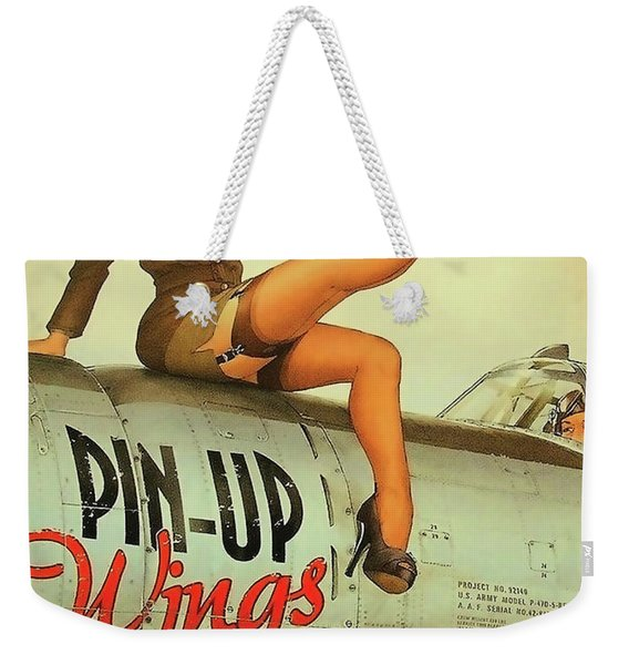 Pin Up Sexy Brunette Girl In Uniform Sitting On Airplane Weekender Tote Bag