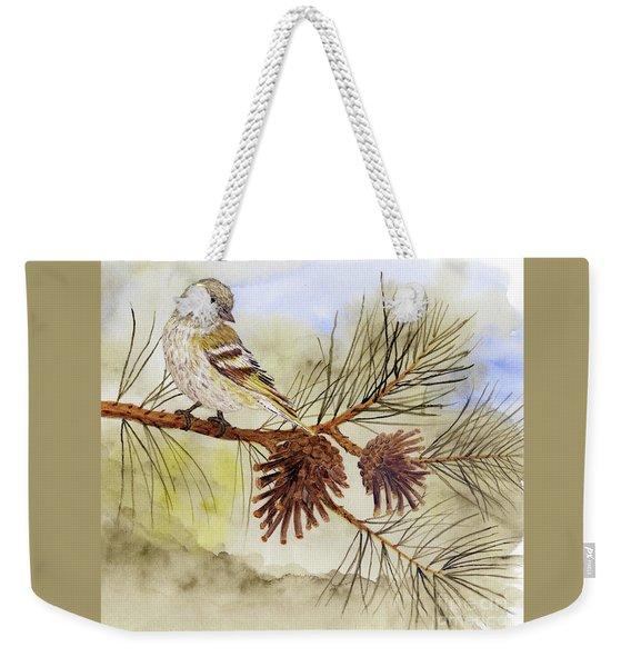 Pine Siskin Among The Pinecones Weekender Tote Bag