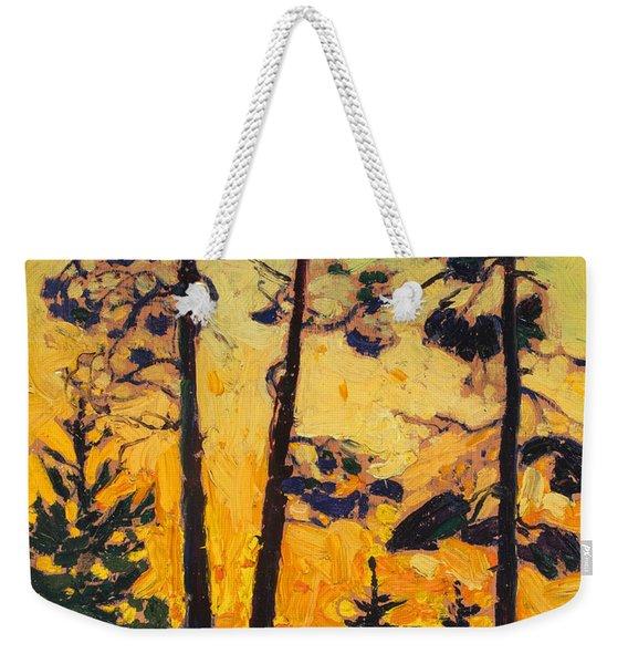 Pine Trees At Sunset Weekender Tote Bag