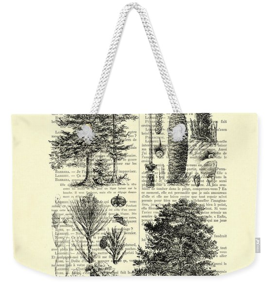 Pine Trees Study Black And White  Weekender Tote Bag