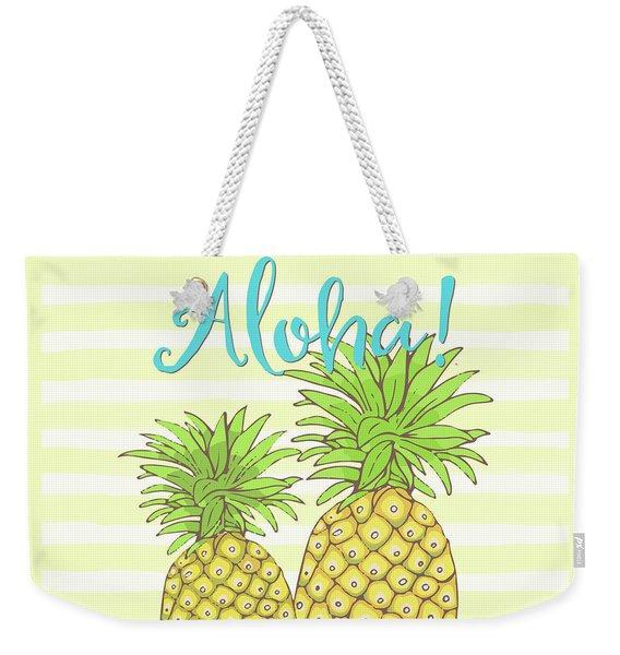Pineapple Aloha Tropical Fruit Of Welcome Hawaii Weekender Tote Bag