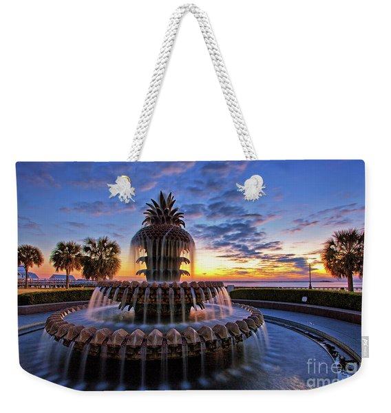 The Pineapple Fountain At Sunrise In Charleston, South Carolina, Usa Weekender Tote Bag