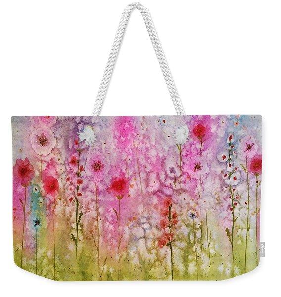 Pink Abstract Weekender Tote Bag