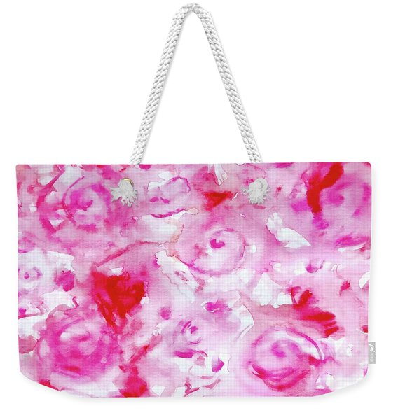 Pink Abstract Floral Weekender Tote Bag