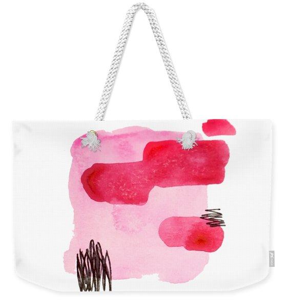 Pink And Black Abstract Weekender Tote Bag