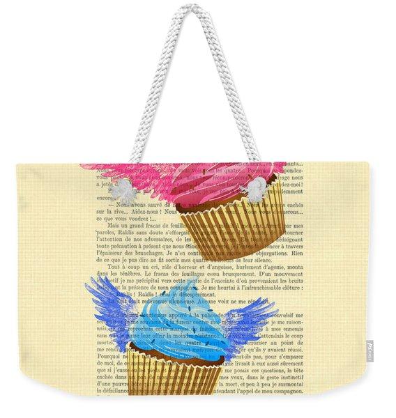 Pink And Blue Cupcakes Vintage Dictionary Art Weekender Tote Bag