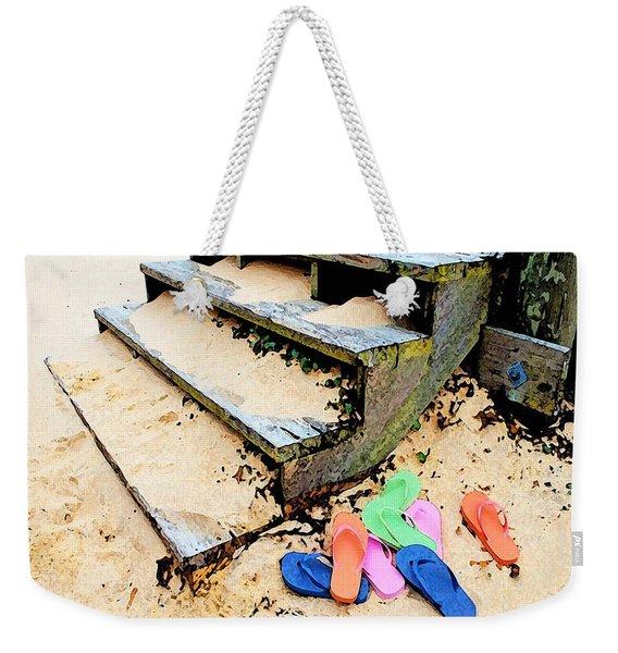 Pink And Blue Flip Flops By The Steps Weekender Tote Bag