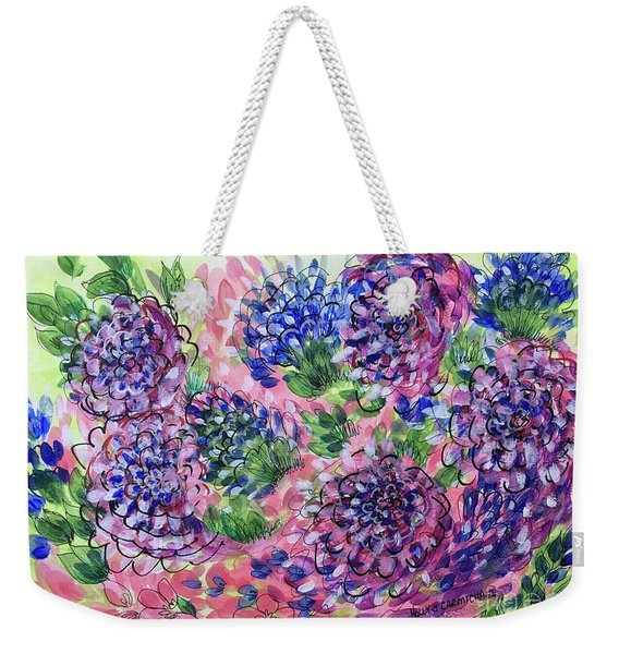 Pink And Blue Flower Flurry Weekender Tote Bag