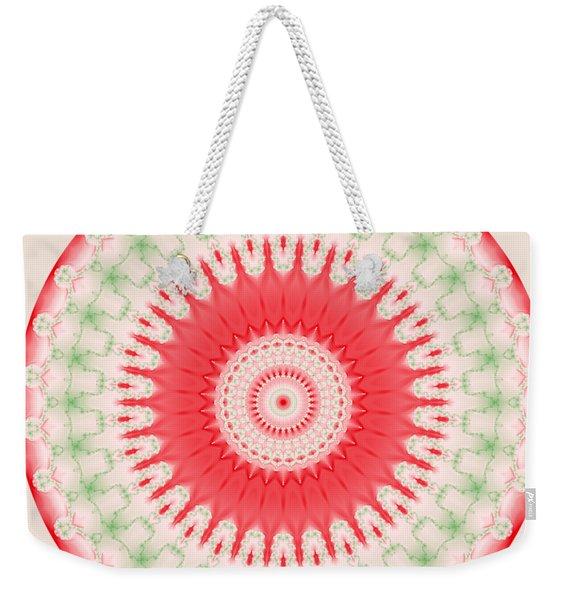 Pink And Green Mandala Fractal 001 Weekender Tote Bag