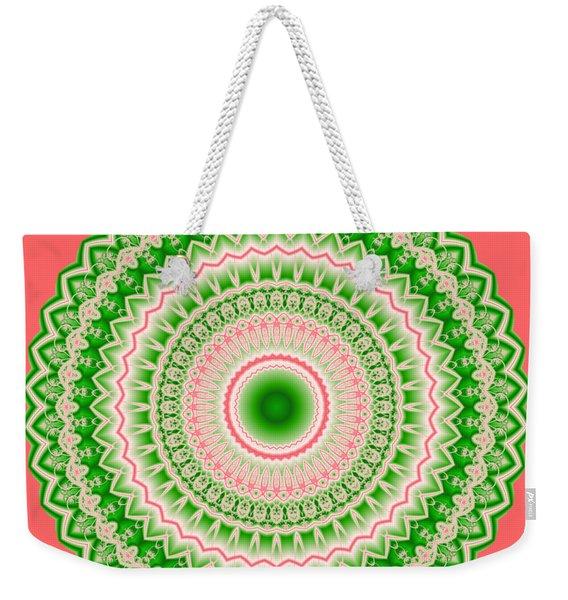 Pink And Green Mandala Fractal 002 Weekender Tote Bag