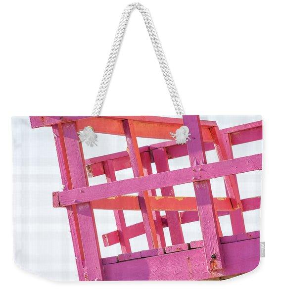Pink And Orange Lifeguard Tower Weekender Tote Bag