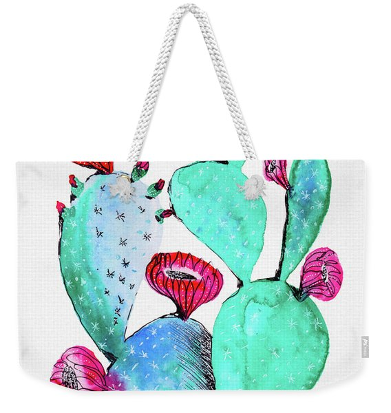 Pink And Teal Cactus Weekender Tote Bag