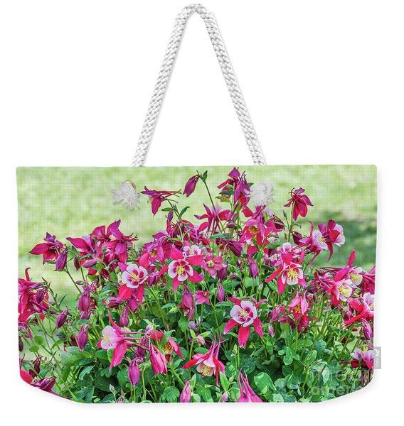 Pink And White Columbine Weekender Tote Bag