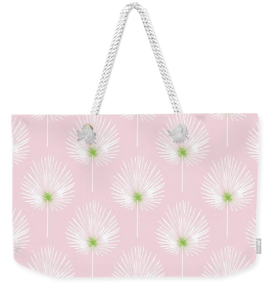 Pink And White Palm Leaves- Art By Linda Woods Weekender Tote Bag