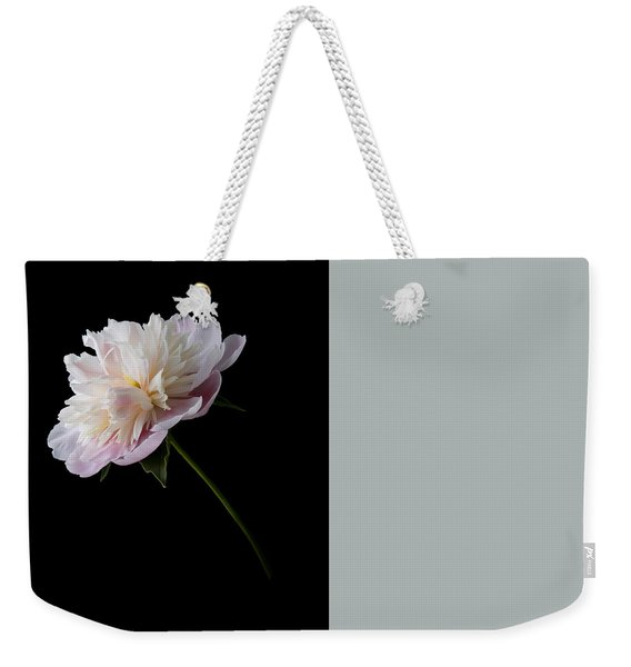 Weekender Tote Bag featuring the photograph Pink And White Peony by Patti Deters