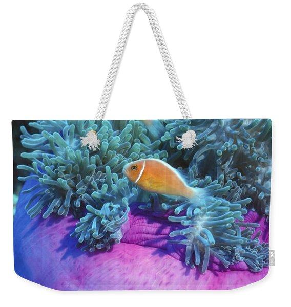 Pink Anemonefish Protect Their Purple Weekender Tote Bag
