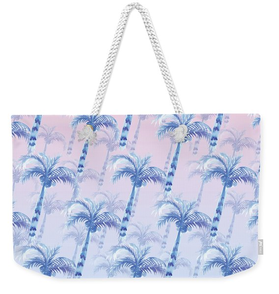 Pink Blue Palm Tree Grove Weekender Tote Bag