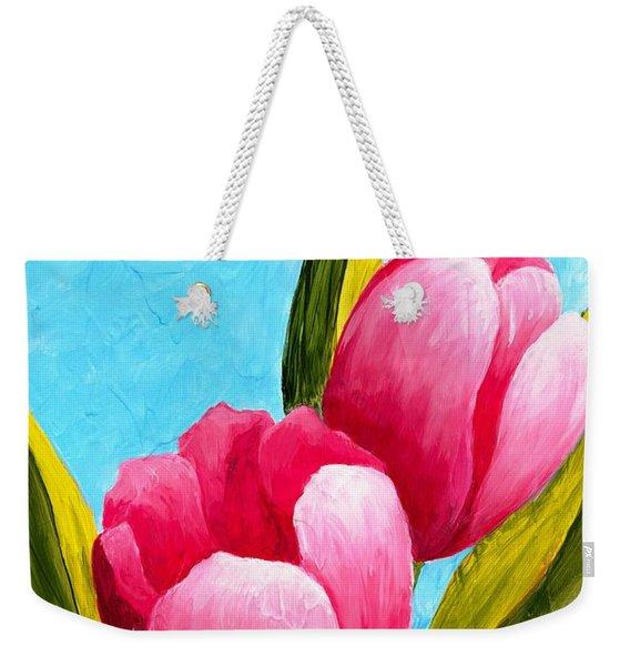 Pink Bubblegum Tulips I Weekender Tote Bag