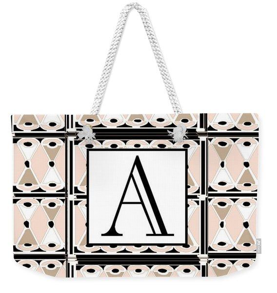 Pink Champagne Deco  Monogram  A Weekender Tote Bag