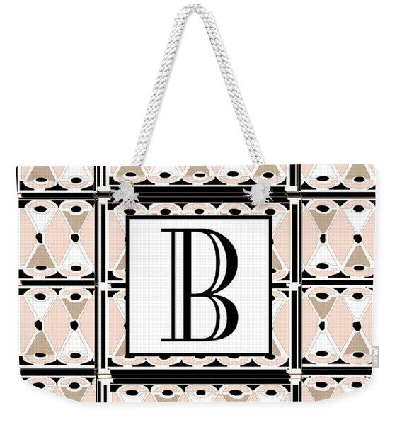 Pink Champagne Deco Monogram  B Weekender Tote Bag