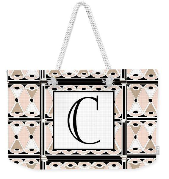 Pink Champagne Deco Monogram  C Weekender Tote Bag