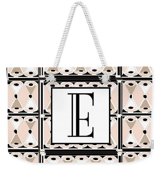 Pink Champagne Deco Monogram  E Weekender Tote Bag