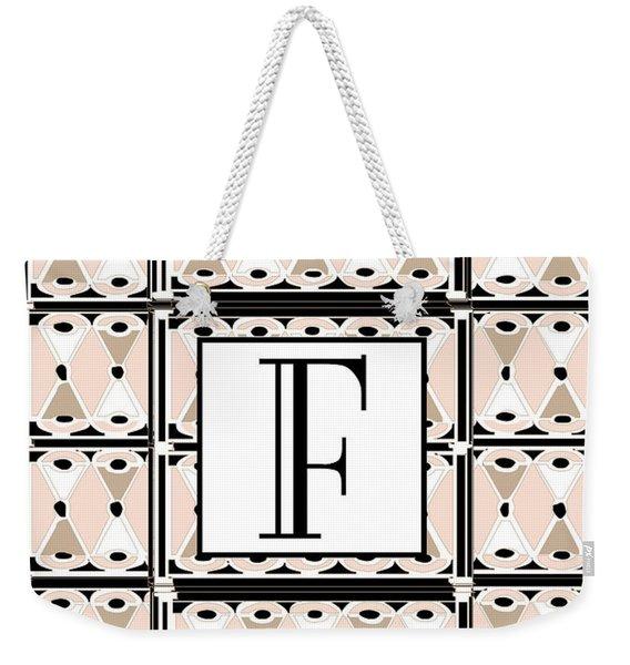 Pink Champagne Deco Monogram  F Weekender Tote Bag