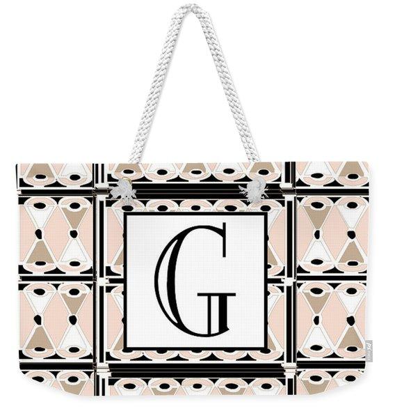 Pink Champagne Deco Monogram  G Weekender Tote Bag
