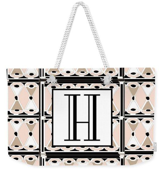 Pink Champagne Deco Monogram  H Weekender Tote Bag