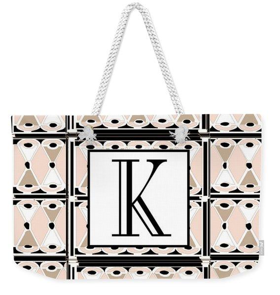 Pink Champagne Deco Monogram  K Weekender Tote Bag
