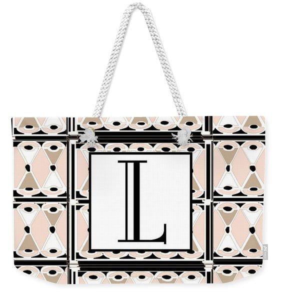Pink Champagne Deco Monogram  L Weekender Tote Bag