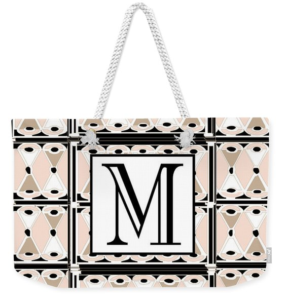 Pink Champagne Deco Monogram  M Weekender Tote Bag